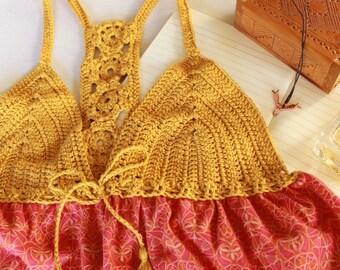 bohemian crochet top, summer hippie tunic, gypsy style tank top