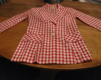 Vintage Gingham Red White Long Blazer 1970's Fabulous! Size 2/4 Small XS