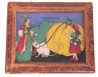"Cinderella Reverse Glass Painting by Smith Fredrick from the ""Nursery Rhyme Series No 420"" Reliance Co. c.1930s"