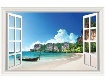 Beach Scene Island Boat Wall Decal Sticker Graphic Art - 4 Sizes Available