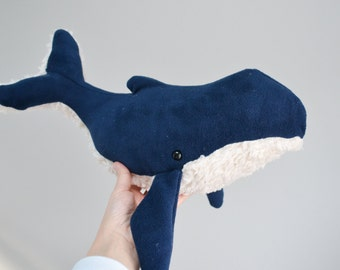Humpback Whale Navy Blue Furry Belly Large Plush *Personalize it!
