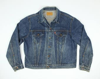 Levis Jean Jacket 48 - Vintage Levi's Jean Jacket XL - Indigo Two Pocket Levis Jean Jacket XL - Dark Wash Levis Denim Jacket Extra Large 80s