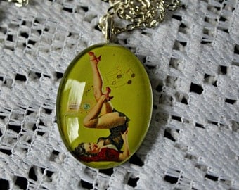Pin up. girl necklace. Handmade. Glass pendant. Silver chain. Cute! For the music lovers!