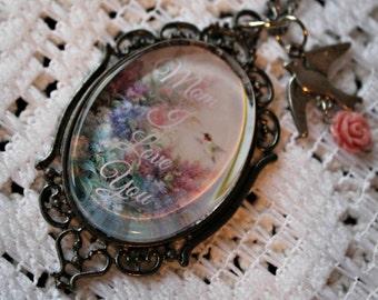 Mom I love you necklace. Handmade.