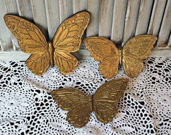 Vintage gold butterflies. Wall art! 1970's.