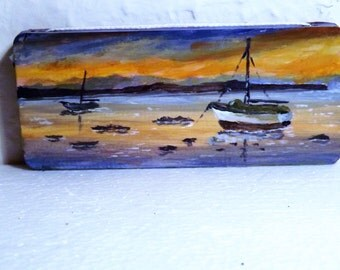 Hand painted wooden plaque ,original collectable art