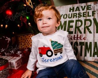Boys Christmas Shirt, Christmas Tree Shirt with Tractor, Toddler Christmas Shirt, Personalized Christmas Shirt, Boys Holiday Shirt