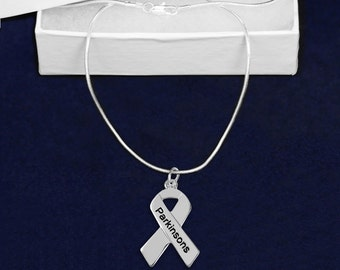 Parkinson's Disease Silver Ribbon Necklace in a Gift Box (1 Necklace - Retail)(RE-N-29-PK)