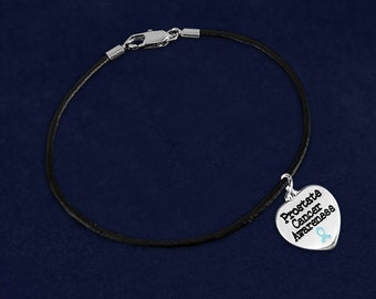 12 Prostate Cancer Awareness Heart Leather Cord Bracelets in Gift Boxes (12 Bracelets) (BC-HRT-12PC)