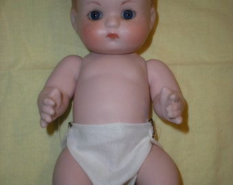 Ceramic Baby Doll Girl jointed hand painted hand made clothes by Edith Tice Oklahoma's Classic doll artist