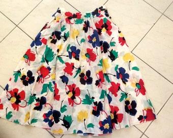 Vintage 70s 80 White Floral Cotton Skirt Parigi Sport Sz US 4  Aus 6 S