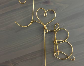 Custom Wedding Cake Topper Wire Rustic Country Initials Heart Love Copper Gold Silver Birthday