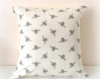 "Handmade Bee Cushion Cover Pillow 16""  Cotton Shabby Chic"