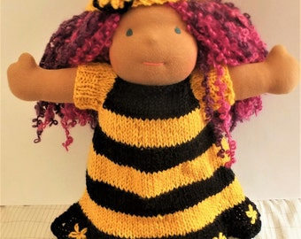 "Waldorf doll clothes, hand knitted doll wool dress, waldorf doll knitted dress, bee outfit for 15"" to 16"" doll"