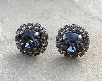 Swarovski  grey/gray stunning small  stud/post earrings