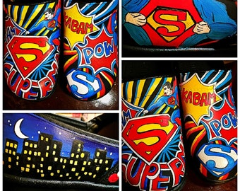 Custom painted Superman Clogs. Designed and personalized just for you!