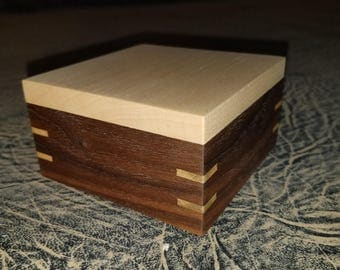 Walnut with Maple and Mahogany curio box.