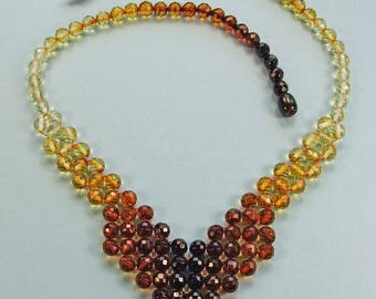 Faceted beads genuine Baltic amber necklace.