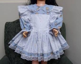 Little Girl Child Toddler Size T3 dress eyelet mock pinafore Patti Playpal Companion doll