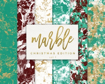 Digital Christmas Paper Pack / Gold Marble Paper / Marble Christmas Paper / Turquoise and Gold Digital Paper / Holiday Digital Background