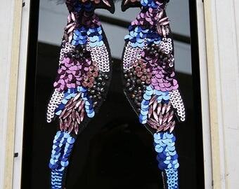 One pair sequins birds vintage embroidred applique clothing decoration patch