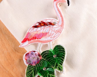 Flamingo sequins patch bird embroidered patch vintage patch