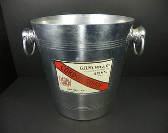 Vintage French Cordon Rouge Champagne Aluminum Ice Bucket Wine Chiller (FREE SHIPPING)