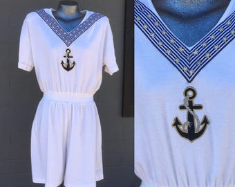 80s Nautical Romper Medium Large  High Waisted White Anchor Jumpsuit Cotton 90s Eighties Swag Beach Sailor