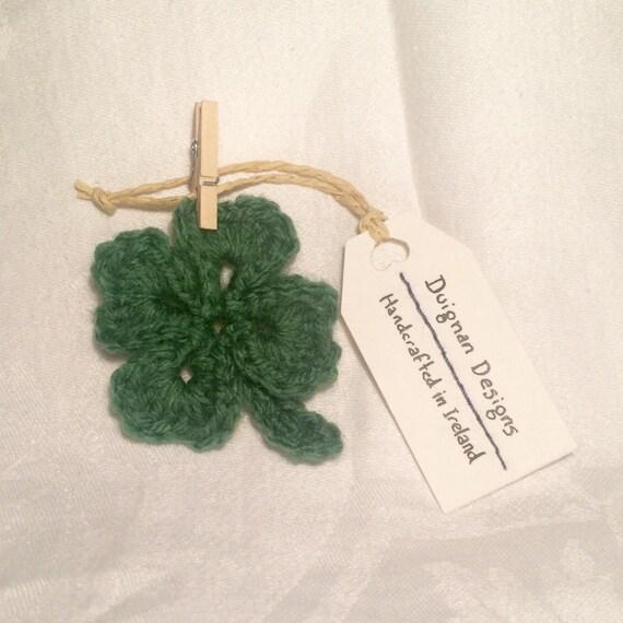 Crocheted Lucky Four Leaf Clover Brooch