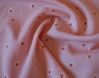 Fabric Peach Orange Flower and Check / Quilting / Clothes Making / Fabric by the Yard Metre / Sewing / Crafts / Olivia Plain Coordinates
