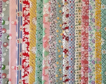 FREE SHIP 100 1930's Reproduction Fabric Fat Eighths Feedsack Quilt Shop Quality No Dups