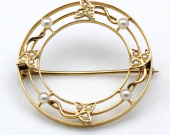 Vintage 14K Yellow Gold & Pearl Circle With Ivy Leaves and Vine Pin Brooch