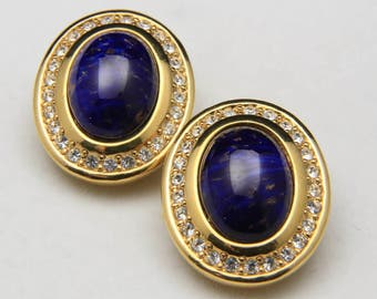 Vintage Grosse© Gold Tone Blue Glass Cabochon & Rhinestone Clip Earrings