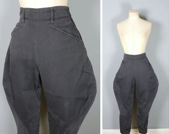 40s black JODHPURS - elephant ear RIDING / flying aviation mid century breeches - WWII landgirl homefront trousers pants 25-26""