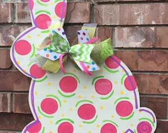 Easter Door Hanger, Bunny Door Hanger, Spring Door Hanger, Easter Wreath, Bunny Wreath, Easter Decor, Spring Decor, Spring Door Hanger