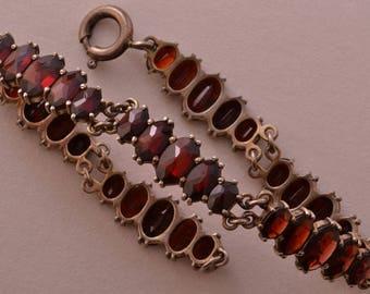 Silver Gilt Vintage Bracelet With Garnets (726dd)
