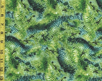 Japanese Asian Quilting Fabric - Hummingbird Feathers - Green