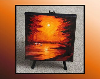 "Original 6x6"" Oil Painting - Mini Swan Pond Sunset Wall Art"