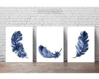 Baby Boy Nursery Wall Decor, Navy Feathers Art Print, Watercolor Blue Feather Clipart, Set 3 Kids Room Minimalist Modern Illustration