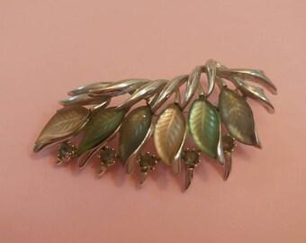 Vintage brooch autumn leaves signed jewellery 1960s