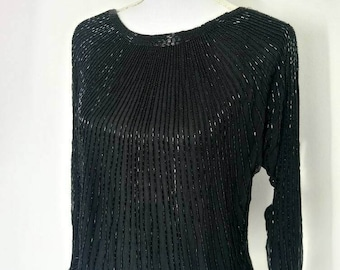 Vintage 60s black all over silk beaded top Size M
