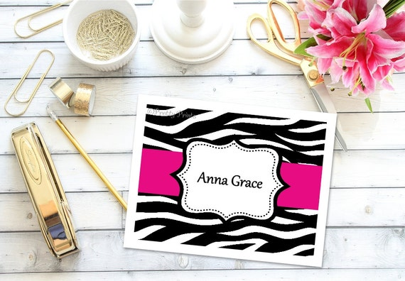 Zebra Print Note Cards - Zebra Note Cards - Personalized Stationery - Notecards - Custom Note Cards - Thank You Notes, Personalized Gift