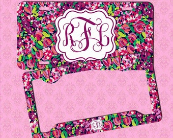 monogram license plate frame monogram lilly pulitzer inspired car tag frame license plate - Monogram License Plate Frame