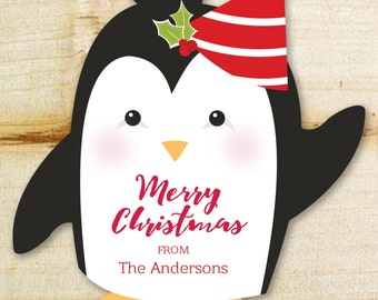 "Christmas Gift Stickers | Holiday Penguin Personalized Gift Stickers | Sold in Sets of 12 | 2.5"" x 3"" Holiday Gift Tags or Stickers"