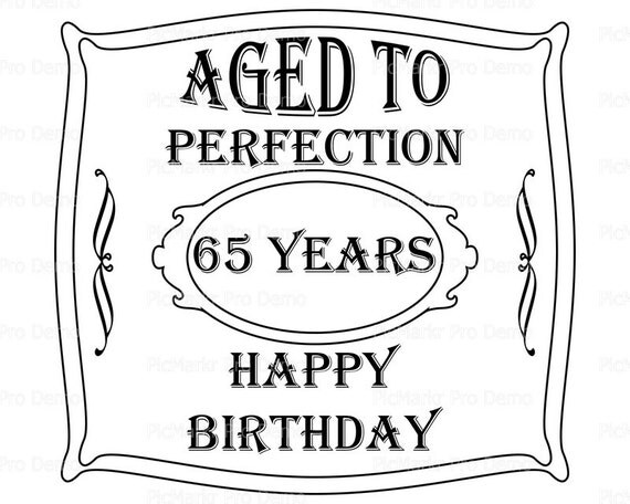 Aged To Perfection 65th Birthday - Edible Cake and Cupcake Topper For Birthday's and Parties! - D21903