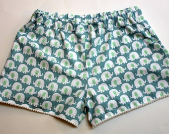 Elephant Flannel Sleep Shorts, Women's Sleepwear, Pom-pom Trim Pajamas, Size Medium.