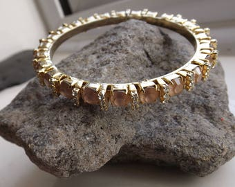 Vintage Gold Plated Bracelet with Pink Stones and Diamantes