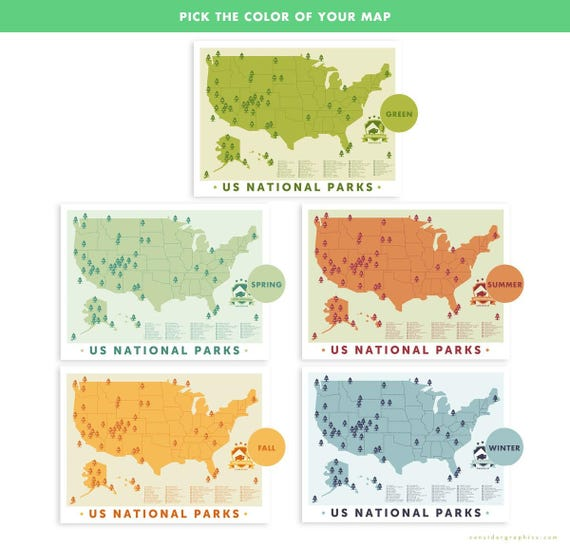 National Park Map Print Outdoors Wall Art Hiking Art Print - Wall map of us national parks