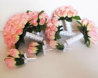 Wedding Bouquet Set 9 Pieces Set Soft Pink Silk Roses Satin Ribbon Lace Bouquet Rose Green Leaves Flowers Bouquet Elegant Wedding Set