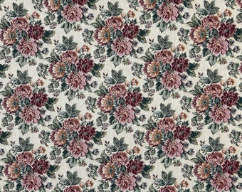 Red Green And Gold Floral Tapestry Upholstery Fabric By The Yard | Pattern # F645
